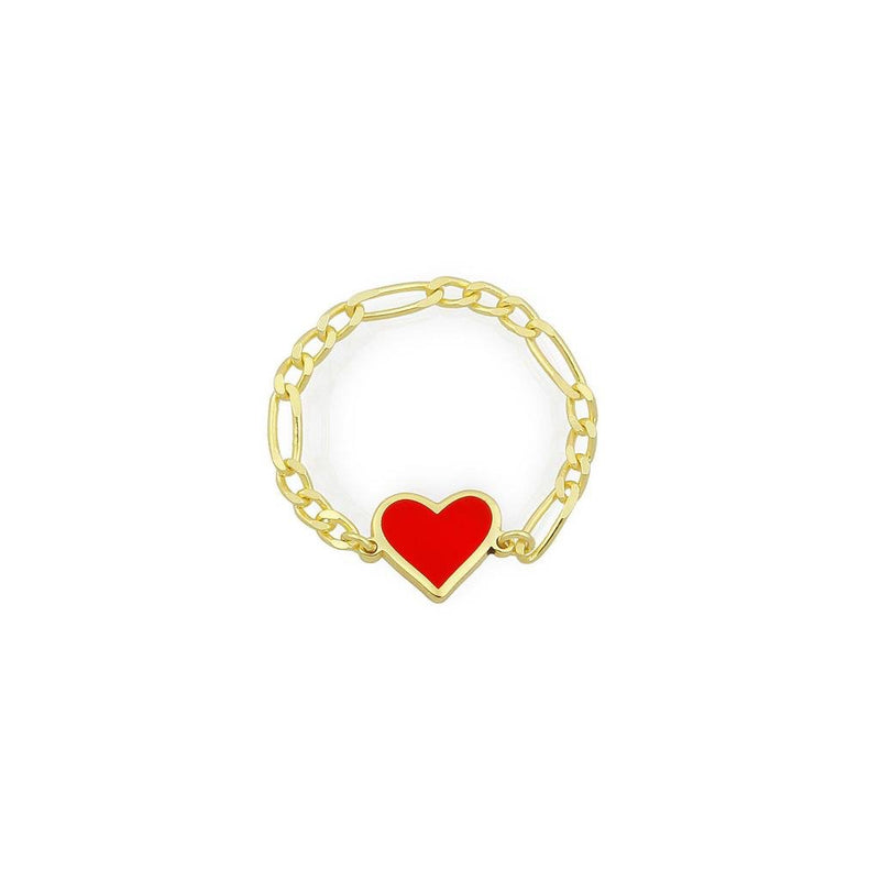 Custom Enamel Heart Chain Link Ring JEWELRY The Sis Kiss