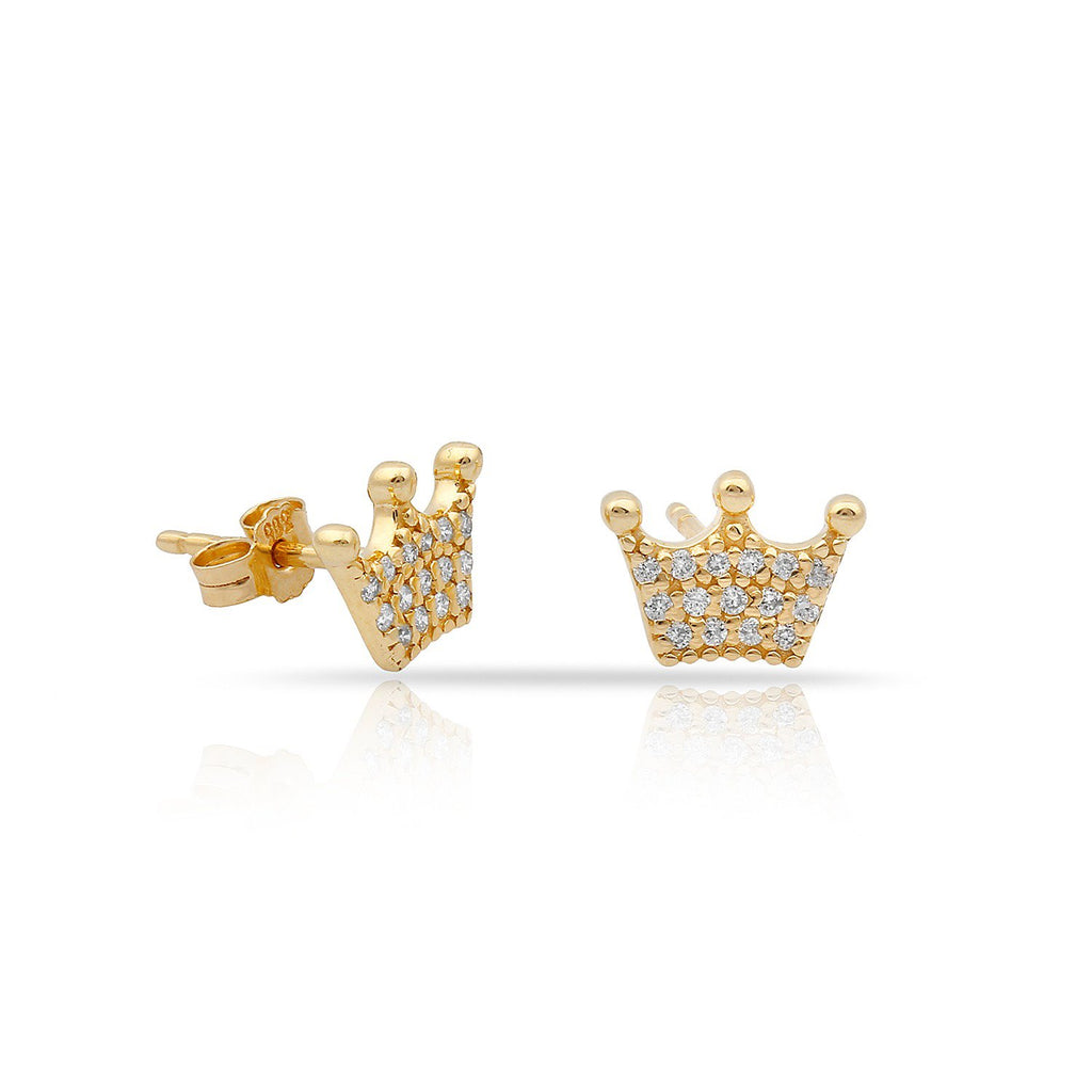 TSK Diamond Crown Studs JEWELRY The Sis Kiss 14k Gold
