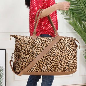 Leopard Pony Hair Weekender Bag