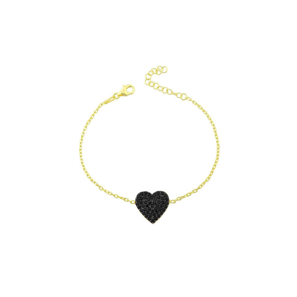Black Crystal Heart Bracelet JEWELRY The Sis Kiss