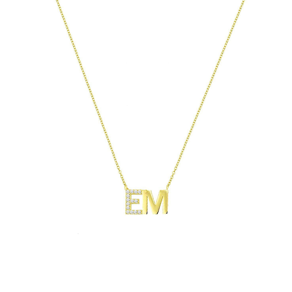 Custom Classic Initials Necklace with Crystal Detail JEWELRY The Sis Kiss Gold and Crystals