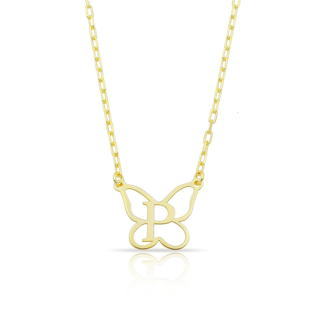 Custom Butterfly Initial Necklace JEWELRY The Sis Kiss Gold