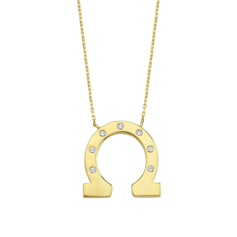 Horseshoe Necklace with Seven Crystals necklace The Sis Kiss