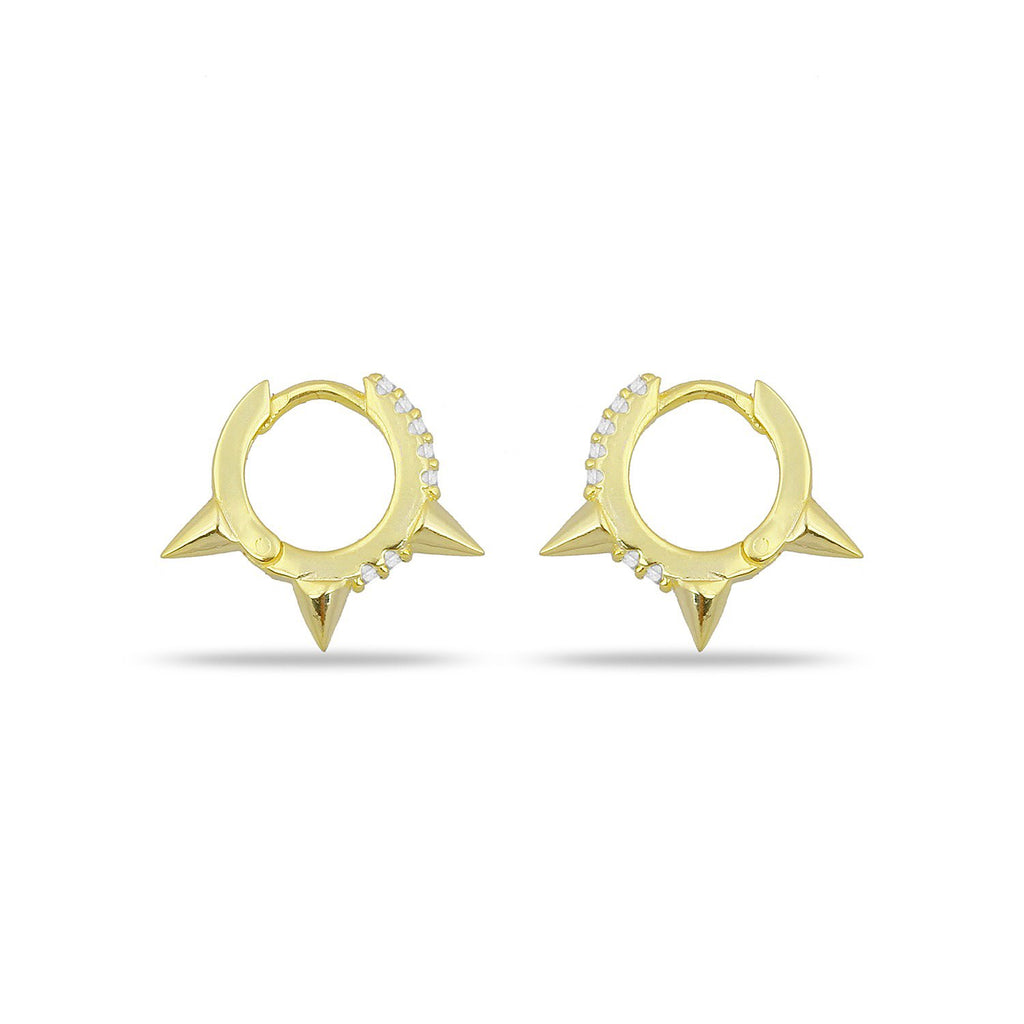 Gold Triple Spike Earrings with Pave Crystals JEWELRY The Sis Kiss Small Spike