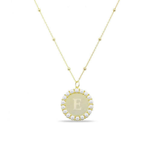 Custom Coin and Pearl Initial Pendant necklace The Sis Kiss Gold