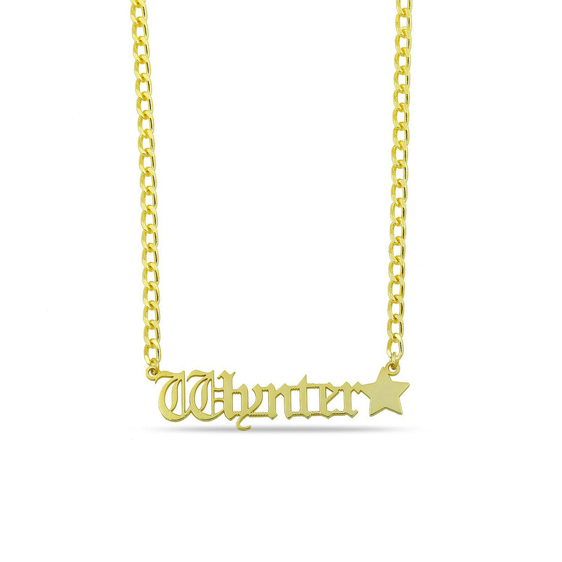 Custom Old English Nameplate Necklace on Link Chain JEWELRY The Sis Kiss Gold Nameplate with Star