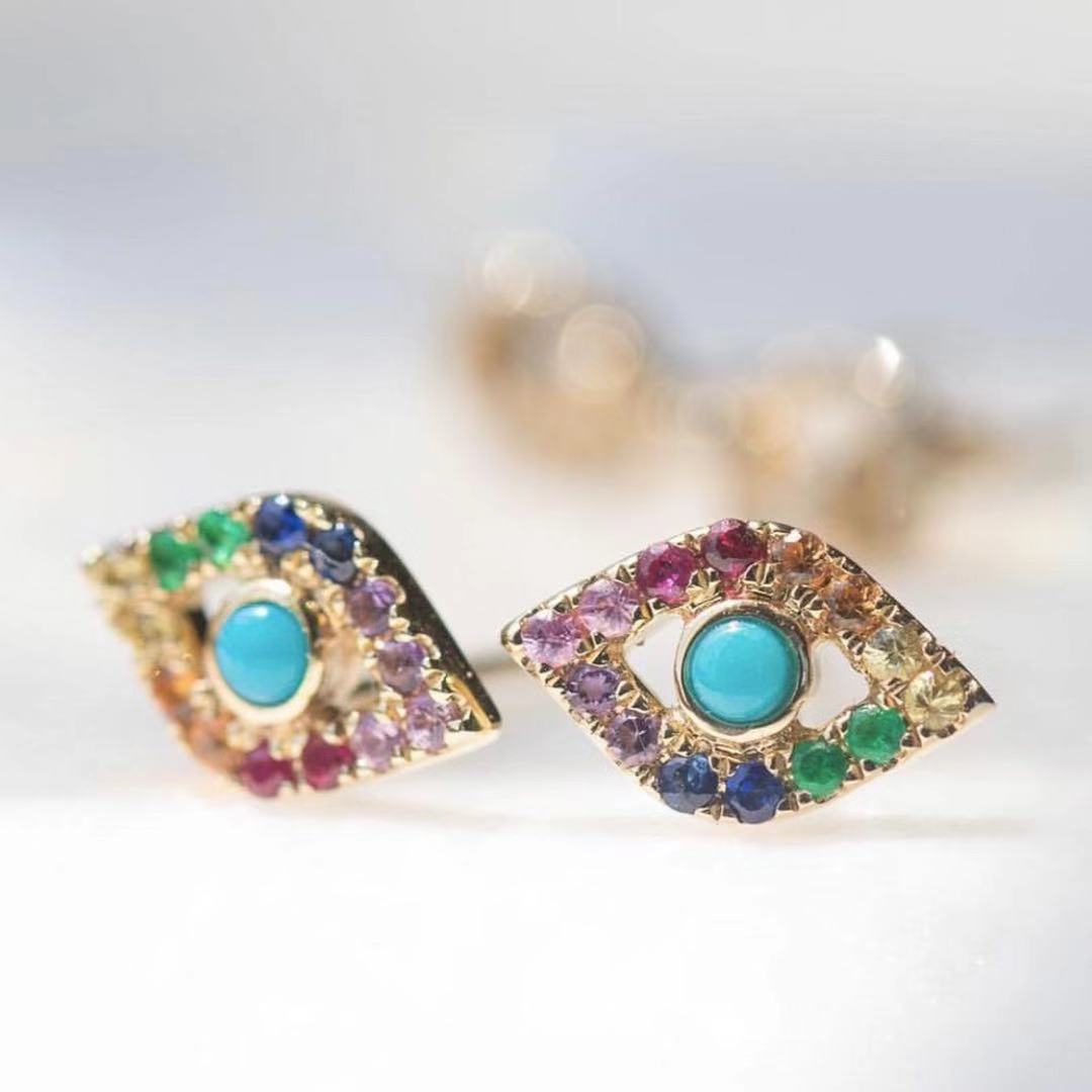 Rainbow Evil Eye Earring Studs