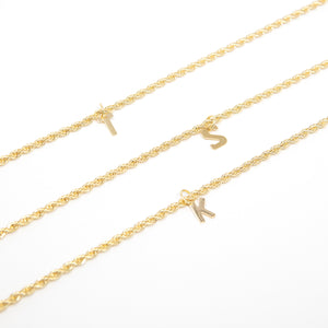 Twisted Chain Initial Necklaces