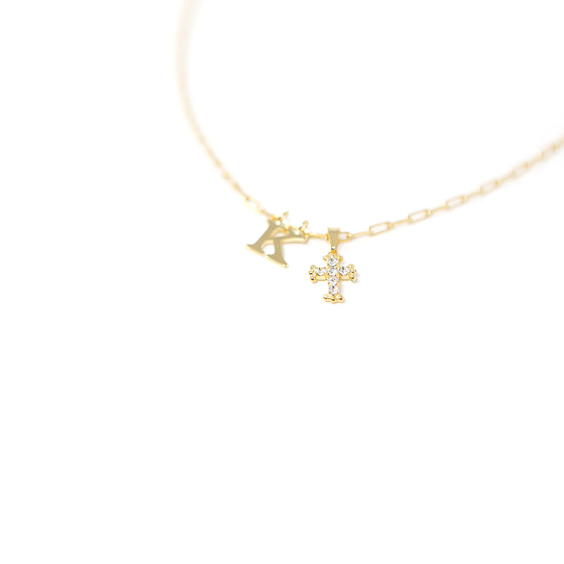 Crystal Cross with Initial necklace The Sis Kiss