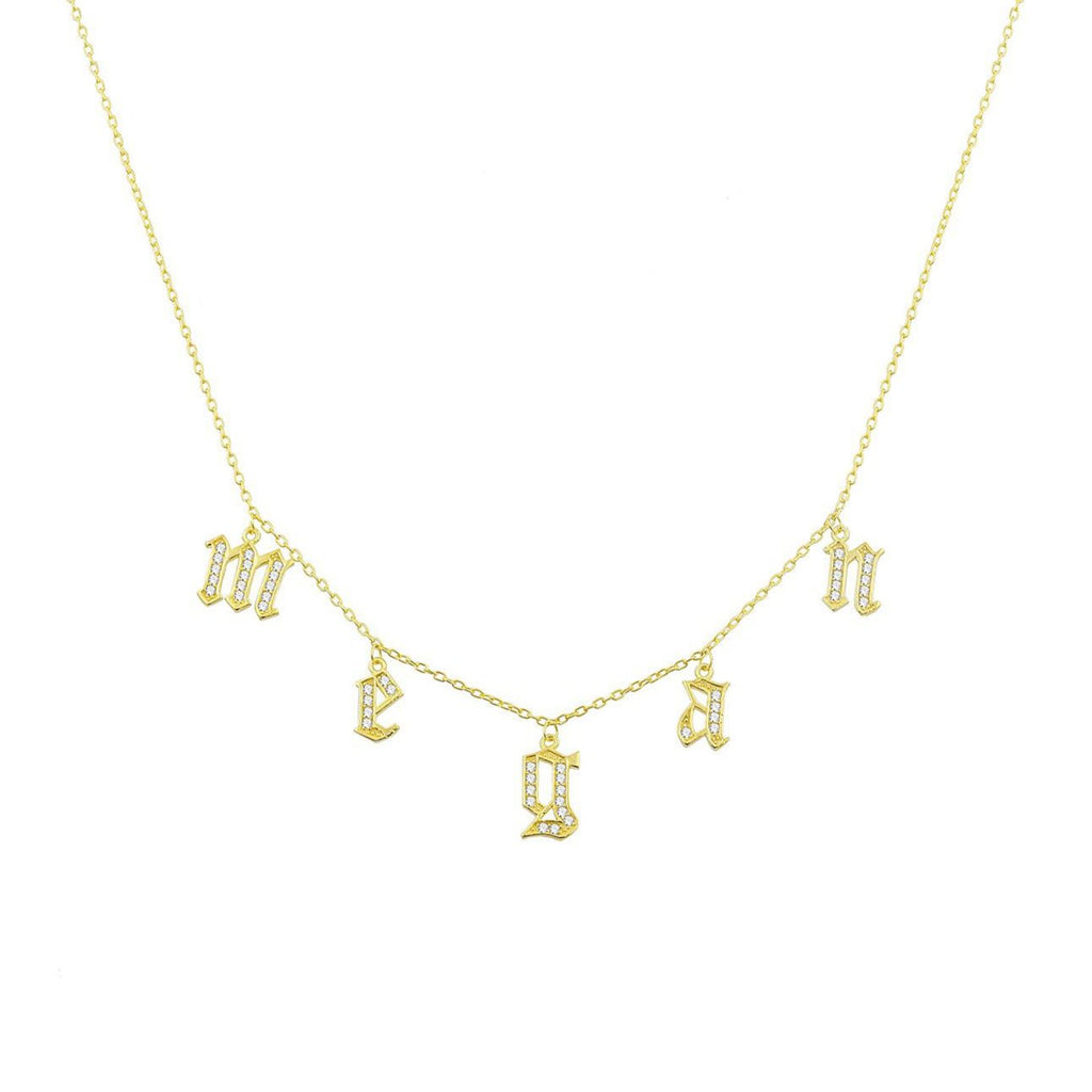 It's All in a Name™ Old English Lowercase Personalized Necklace JEWELRY The Sis Kiss Gold with Crystals