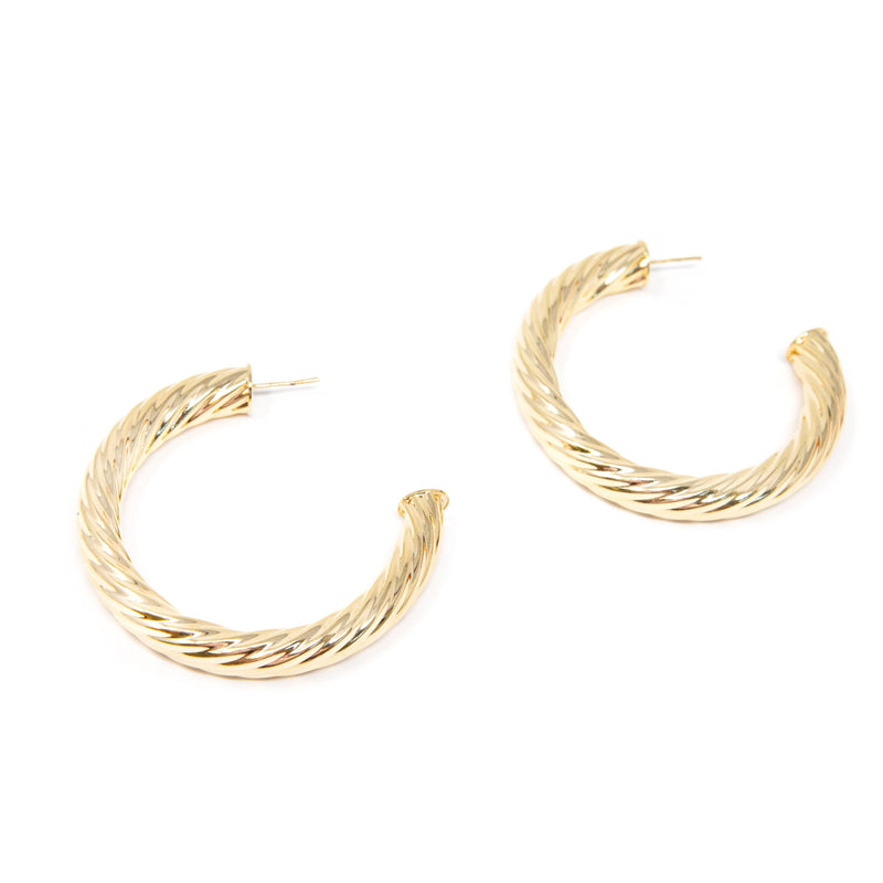 "Gold Twist Hoop Earrings JEWELRY The Sis Kiss Large (2.5"")"