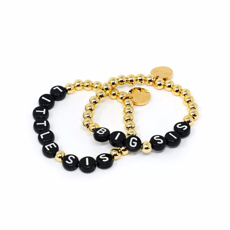 Custom Stretch Beaded Bracelets JEWELRY The Sis Kiss Kids - Black Beads White Letters