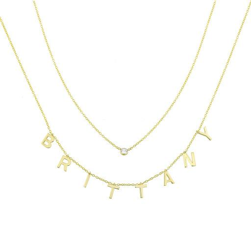 It's All in a Name™ Loverly Layered Necklace JEWELRY The Sis Kiss Gold No Crystals