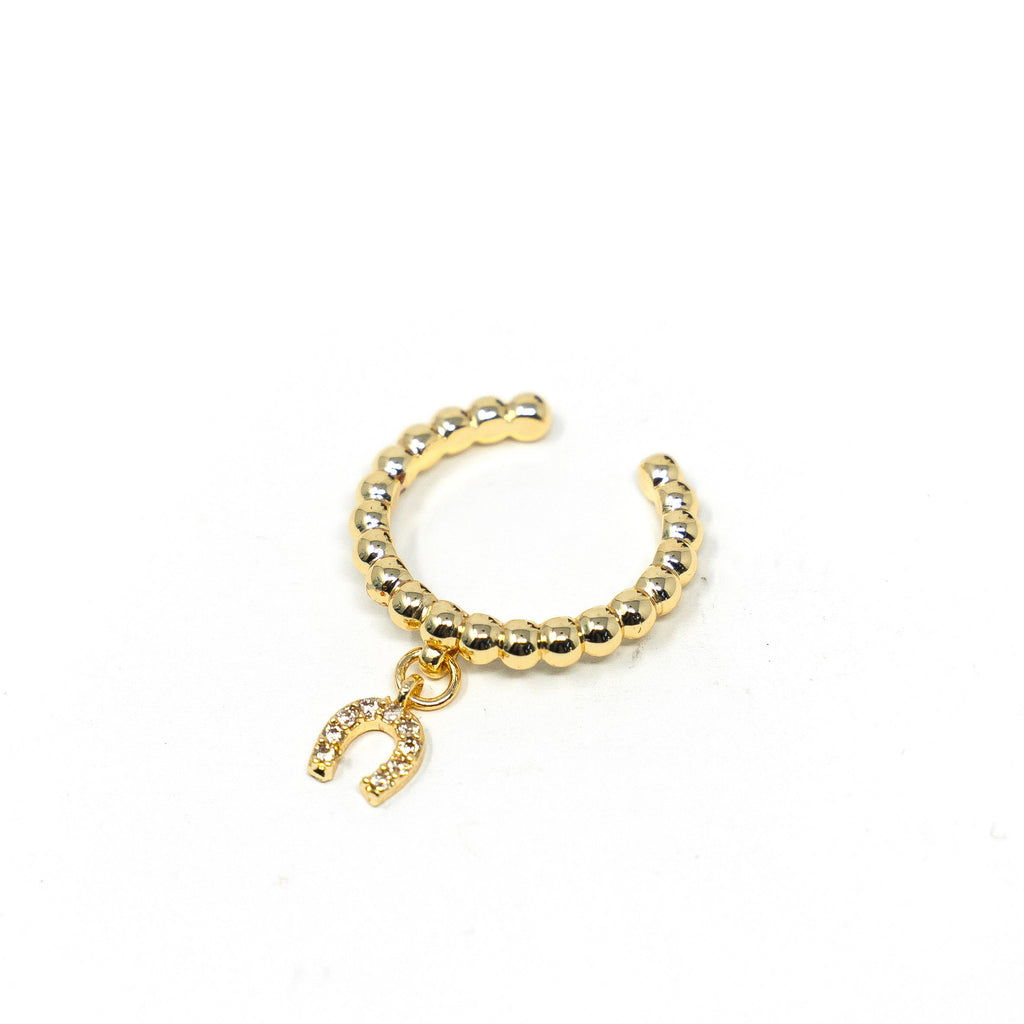 Lucky Horseshoe Adjustable Gold Bead Ring JEWELRY The Sis Kiss