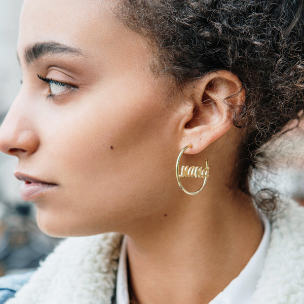 Mama Graphic Script Hoop Earrings