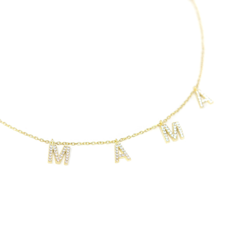 It's All in a Name™ MAMA Necklace JEWELRY The Sis Kiss Gold with Crystals