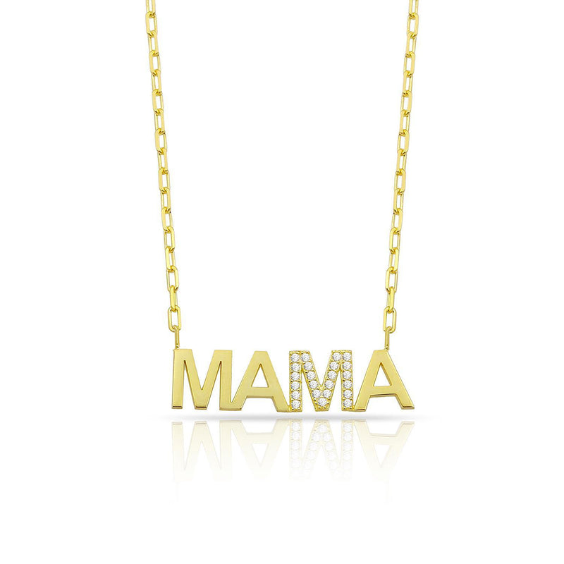 Mama Nameplate Necklace with Crystal Detail JEWELRY The Sis Kiss