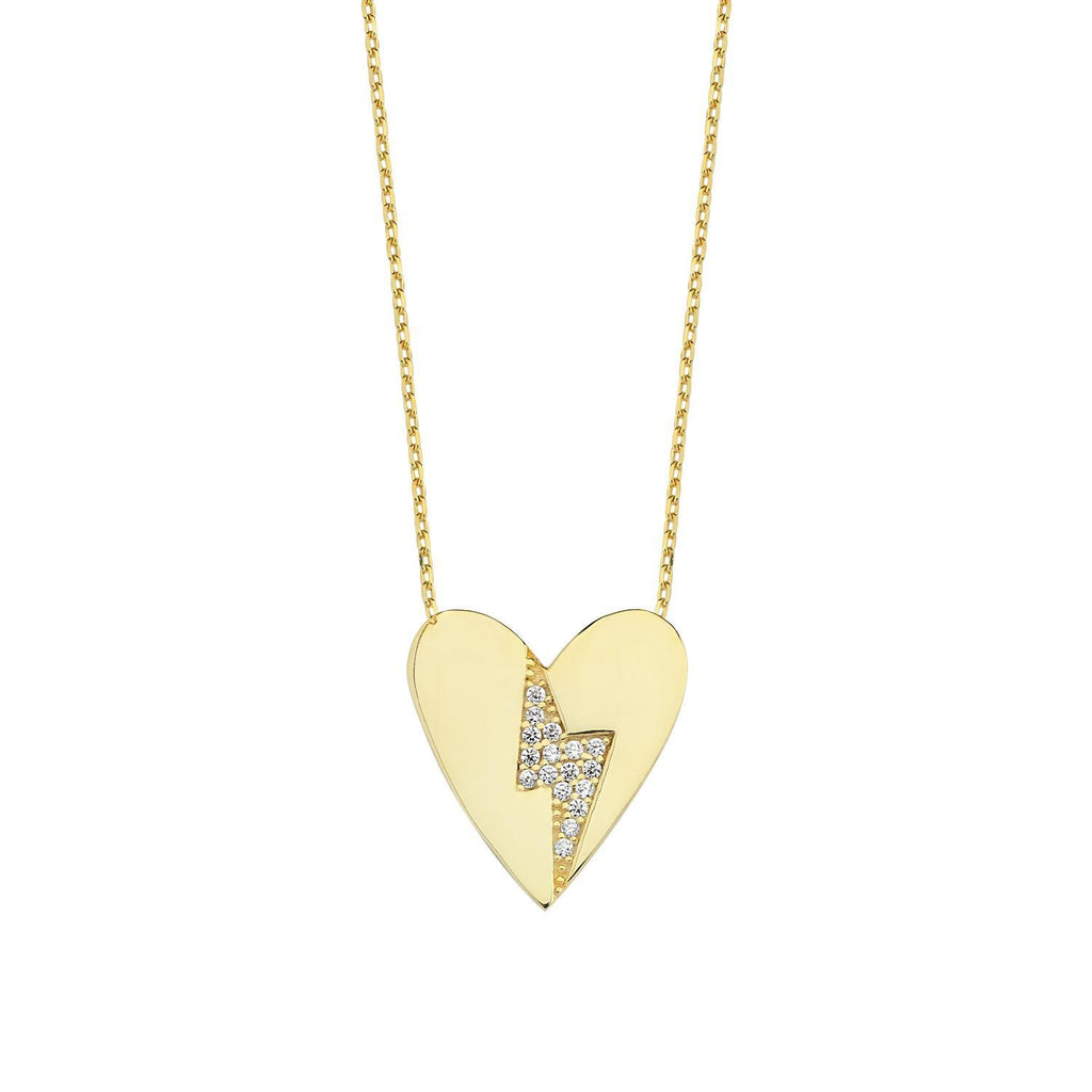 Love Struck - Heart and Crystal Bolt Necklace JEWELRY The Sis Kiss