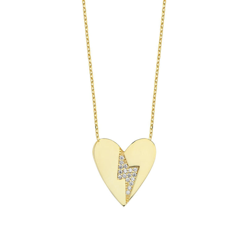 Love Struck - Heart and Crystal Bolt Necklace