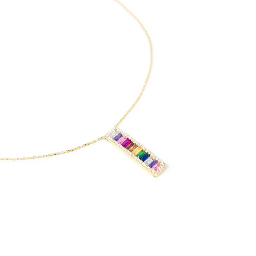 Vertical Rainbow Bar Necklace necklace The Sis Kiss