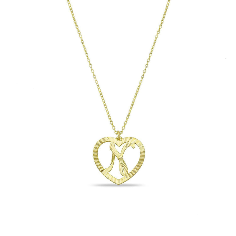 The Sis Kiss Muse Heart Initial Necklace JEWELRY The Sis Kiss Gold N