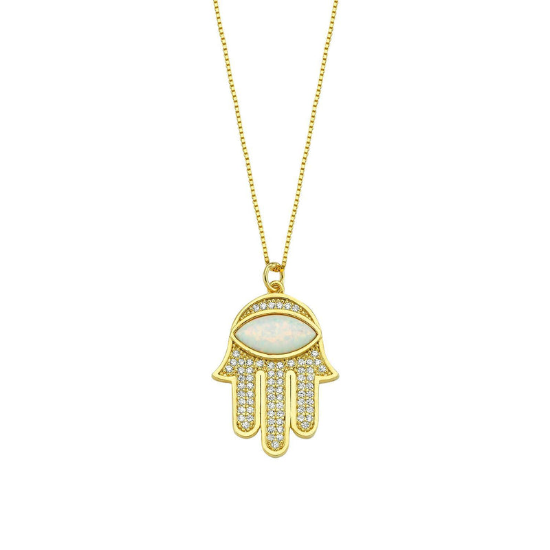 Opal Hamsa Hand Pendant Necklace JEWELRY The Sis Kiss