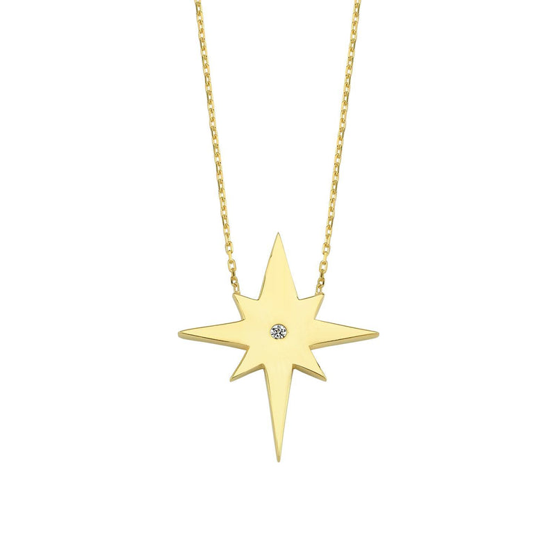 North Star and Crystal Pendant Necklace necklace The Sis Kiss
