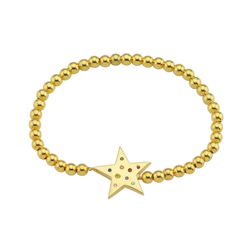 Crystal Star Beaded Stretch Bracelets JEWELRY The Sis Kiss Gold
