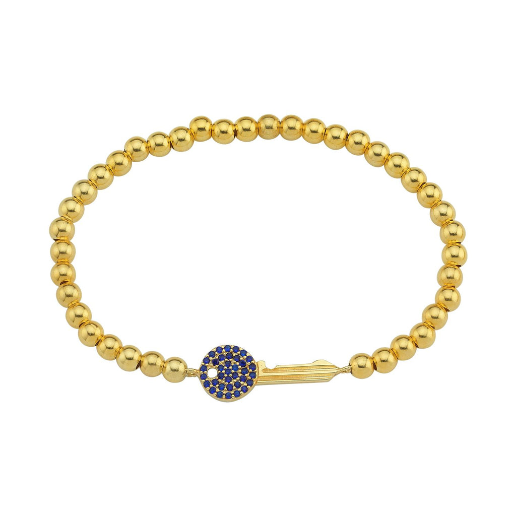 Crystal Key Beaded Stretch Bracelets JEWELRY The Sis Kiss Gold