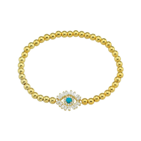 Bling Evil Eye Beaded Stretch Bracelet