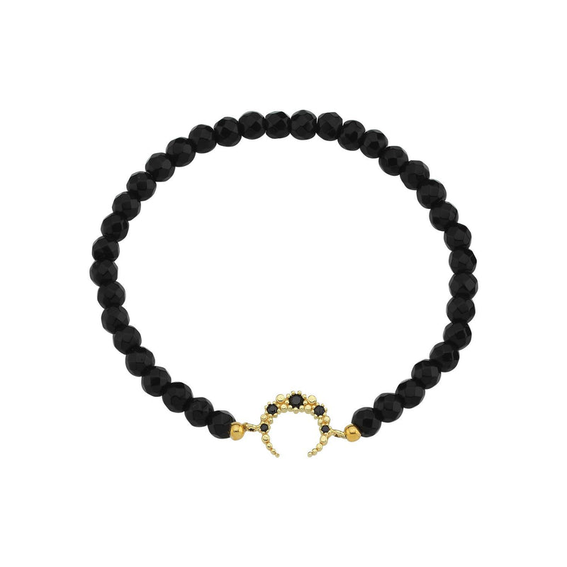 Crystal Crescent Moon Stretch Bracelets JEWELRY The Sis Kiss Black