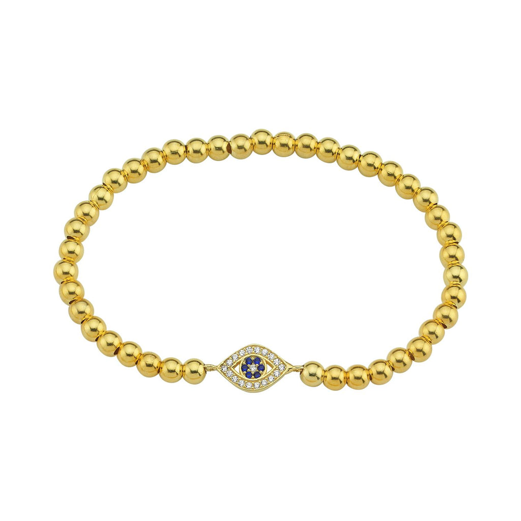 Elegant Evil Eye Beaded Stretch Bracelet JEWELRY The Sis Kiss Navy