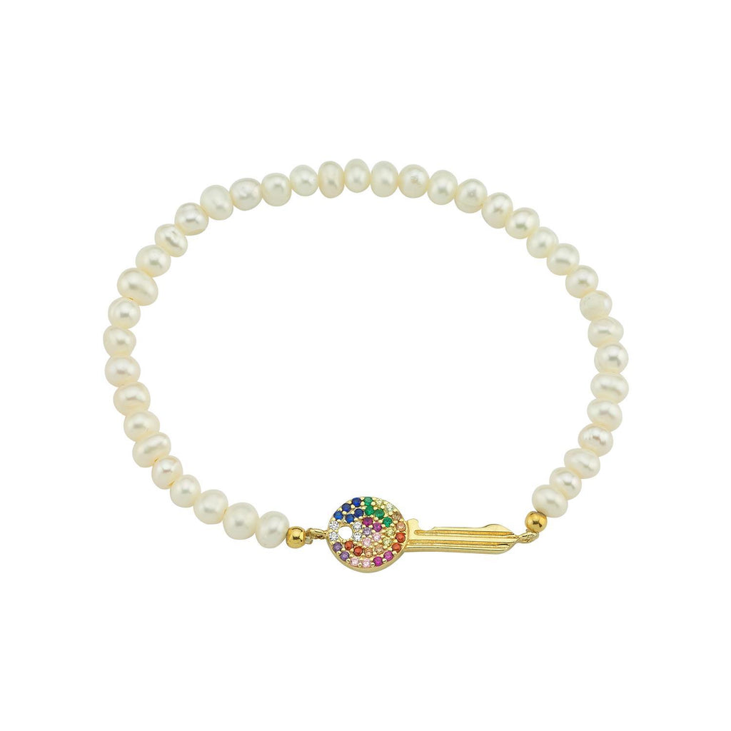 Crystal Key Beaded Stretch Bracelets JEWELRY The Sis Kiss White
