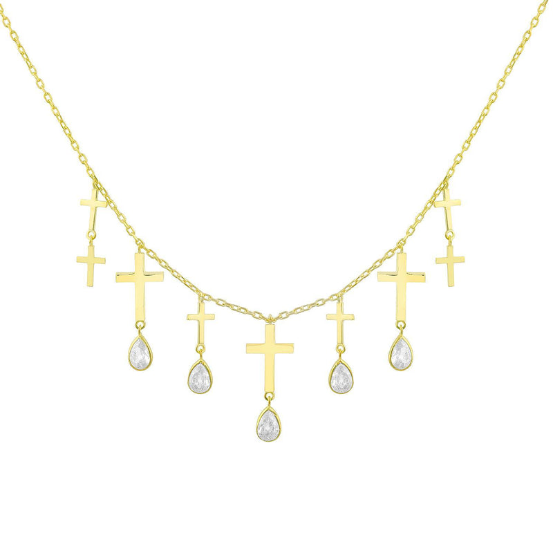 Nine Gold Crosses Necklace JEWELRY The Sis Kiss