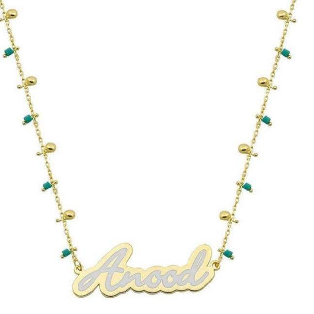 Custom Script Nameplate on Beaded Necklace necklace The Sis Kiss White Turquoise