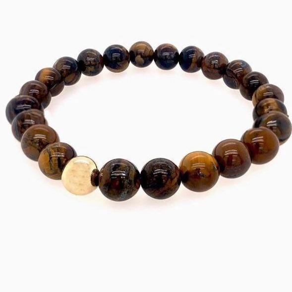 Unisex Beaded Stretch Bracelets JEWELRY The Sis Kiss Brown Tiger Eye