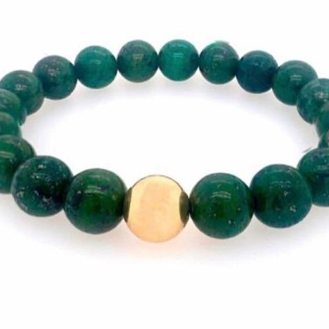 Unisex Beaded Stretch Bracelets JEWELRY The Sis Kiss Emerald Green