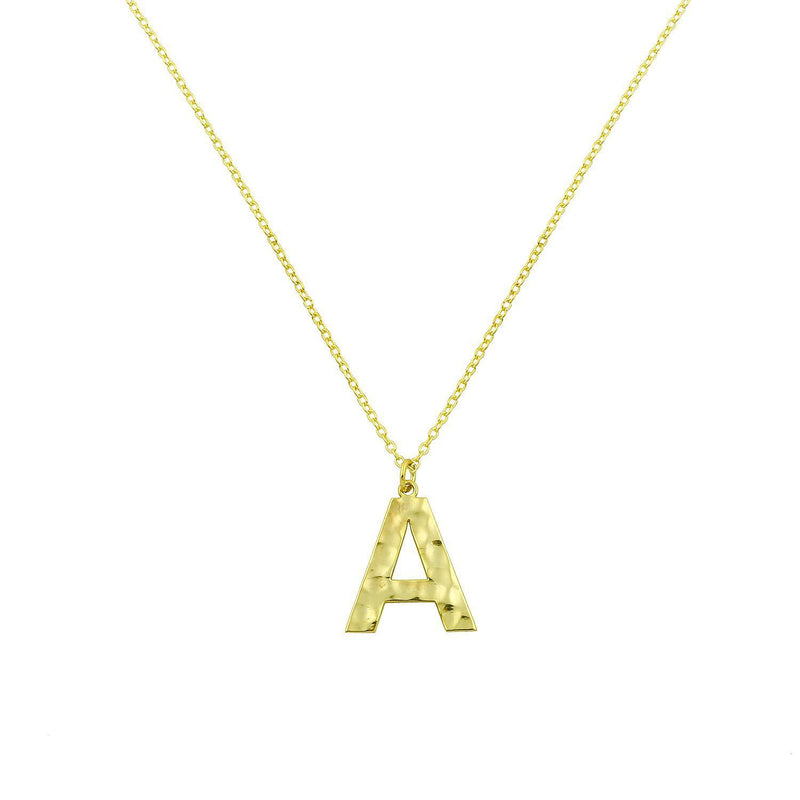 Hammered Initial Necklace necklace The Sis Kiss
