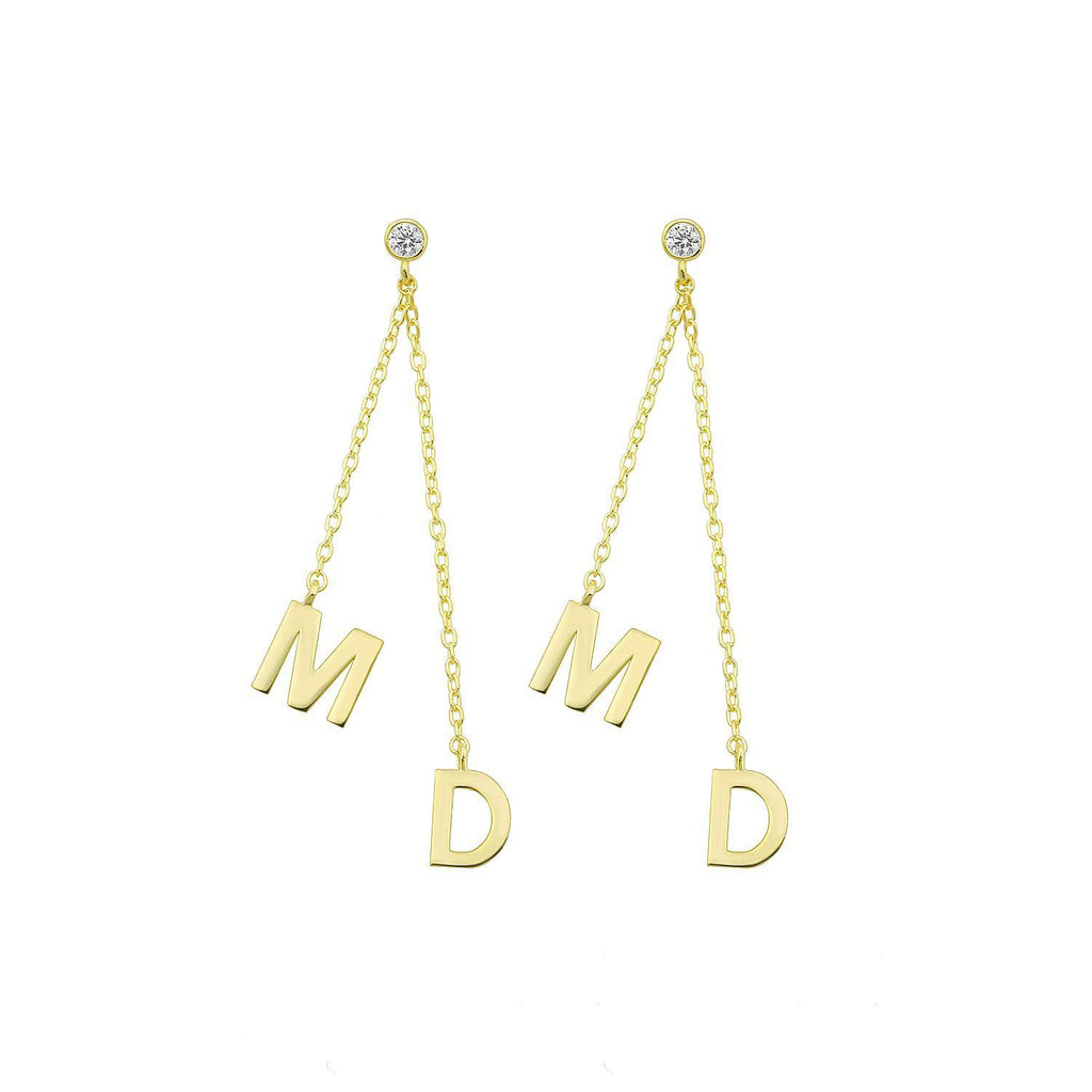Custom Initial Set Drop Earrings JEWELRY The Sis Kiss Gold