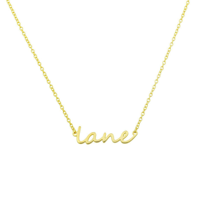 Dainty Custom Name Necklace JEWELRY The Sis Kiss Yellow gold
