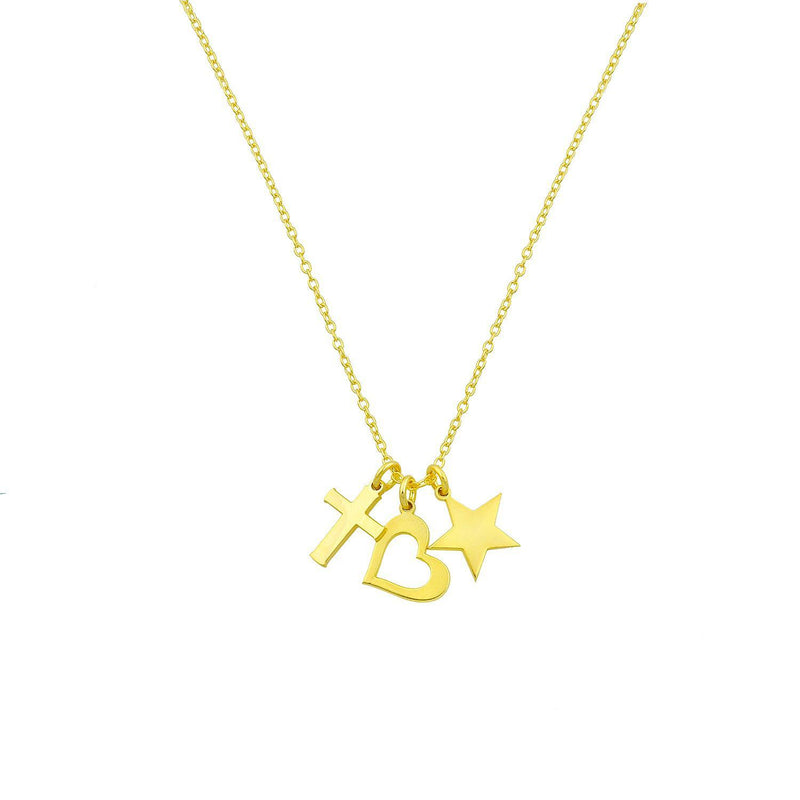 Cross + Heart + Star Charm Necklace necklace The Sis Kiss