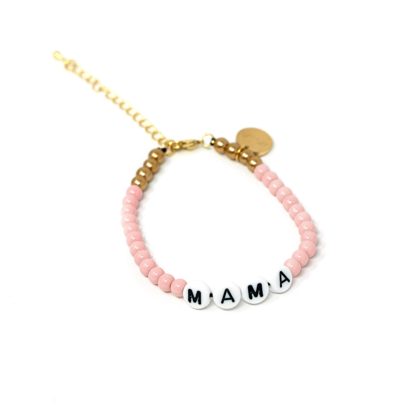Pink and Gold Mama Adjustable Bracelets JEWELRY The Sis Kiss Pink