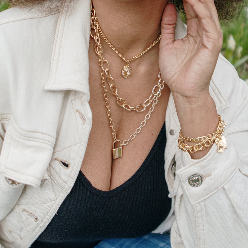 Linked Gold Chain and Chain with Lock Necklace necklace The Sis Kiss