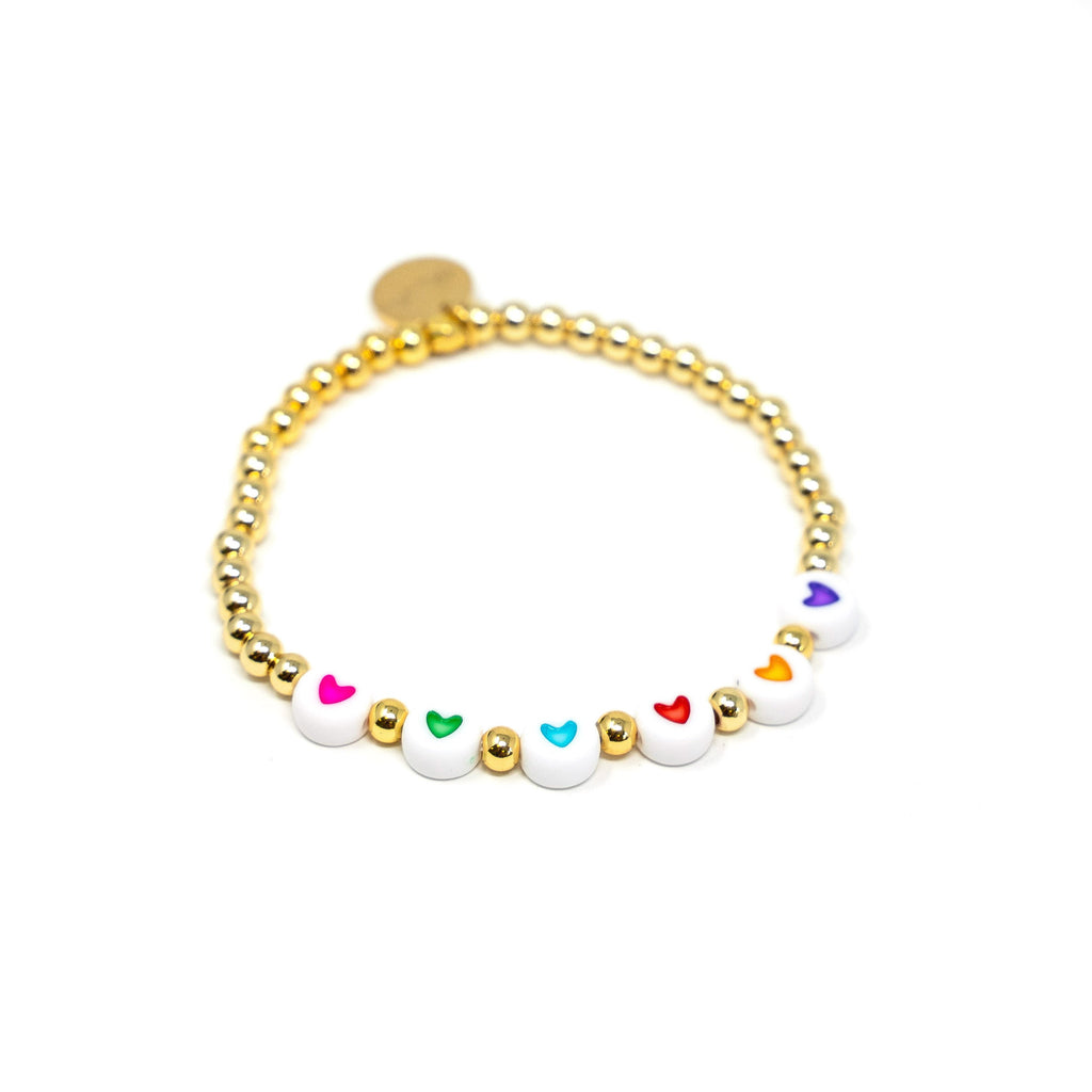 Rainbow Hearts on a Gold Beaded Bracelet JEWELRY The Sis Kiss Rainbow Hearts