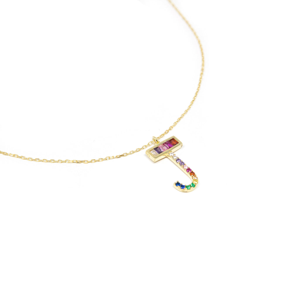Rainbow Pave Crystal Initial Letter JEWELRY The Sis Kiss