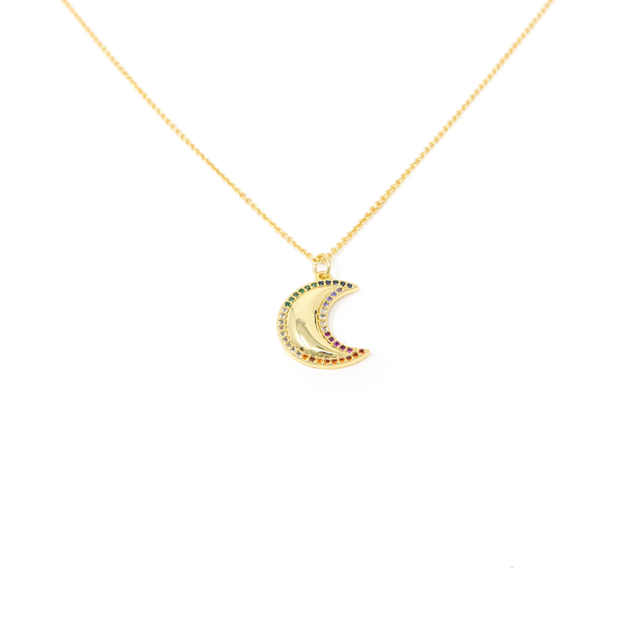 Rainbow and Gold Crescent Necklace
