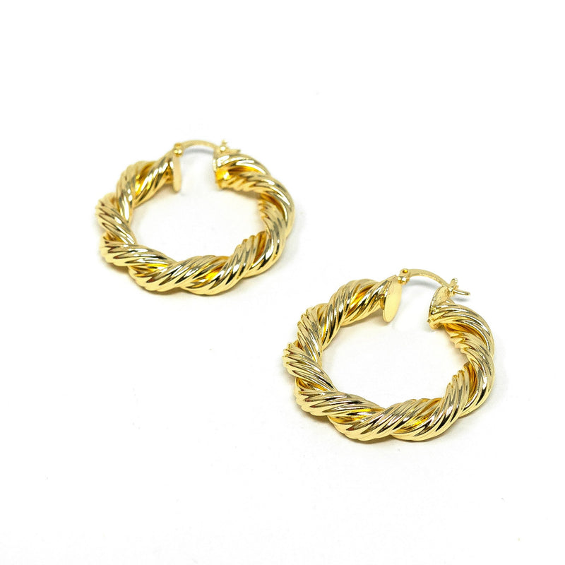 Rope Twist Gold Hoop Earrings JEWELRY The Sis Kiss