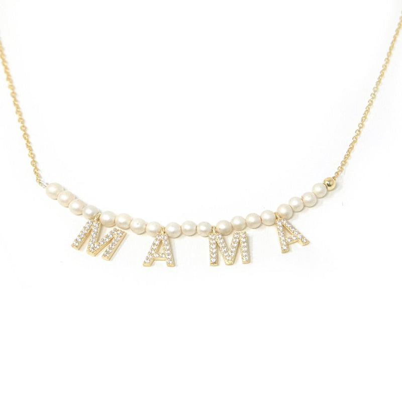 It's All in a Name™ MAMA Necklace JEWELRY The Sis Kiss Gold with Crystals-Pearl
