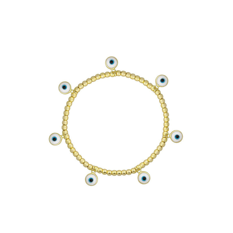 Seven Evil Eye Charms on a Gold Bracelet JEWELRY The Sis Kiss