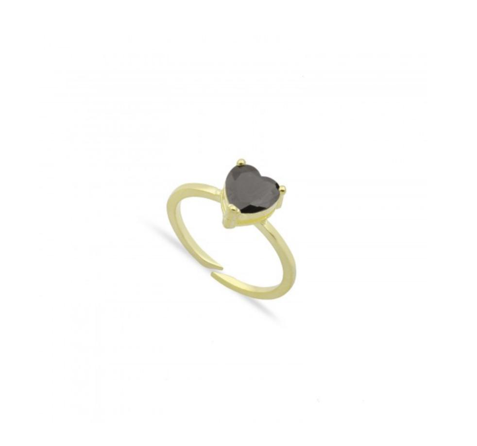 Single Crystal Heart Ring JEWELRY The Sis Kiss Black